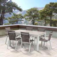 Wilsa Garden – Ensemble Tulum 6 personnes T6/10+F6 Aluminium Blanc