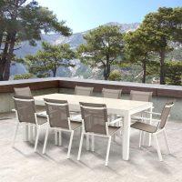 Wilsa Garden – Pack salon de jardin Tulum T8/12+F8 Aluminium Blanc