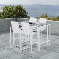 Wilsa Garden – Ensemble détente Barset T4+F4 Stone Blanc